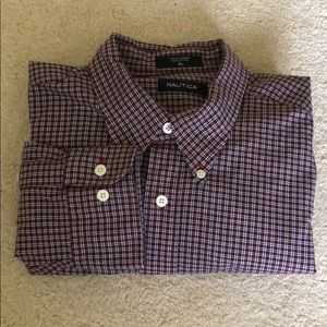 Nautica XL red and navy check dress shirt